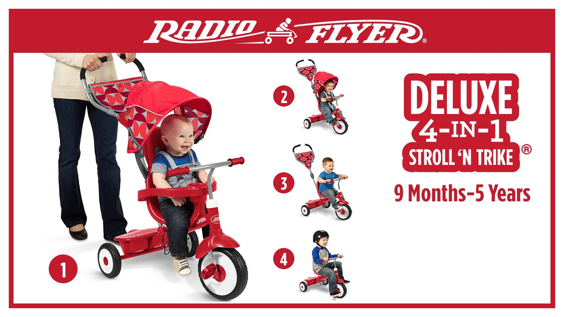 radio flyer 4 in 1 trikes for kids babies